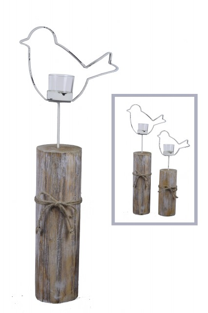 Špalíček na čajovou svíčku | ptáček | bílý Velikost: větší