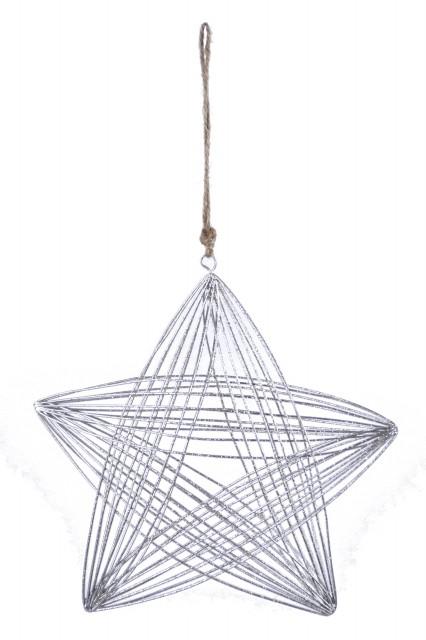 Drátěná hvězda|stříbrná|k zavěšení Velikost: větší