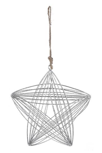 Ego Dekor Drátěná hvězda|stříbrná|k zavěšení Velikost: menší