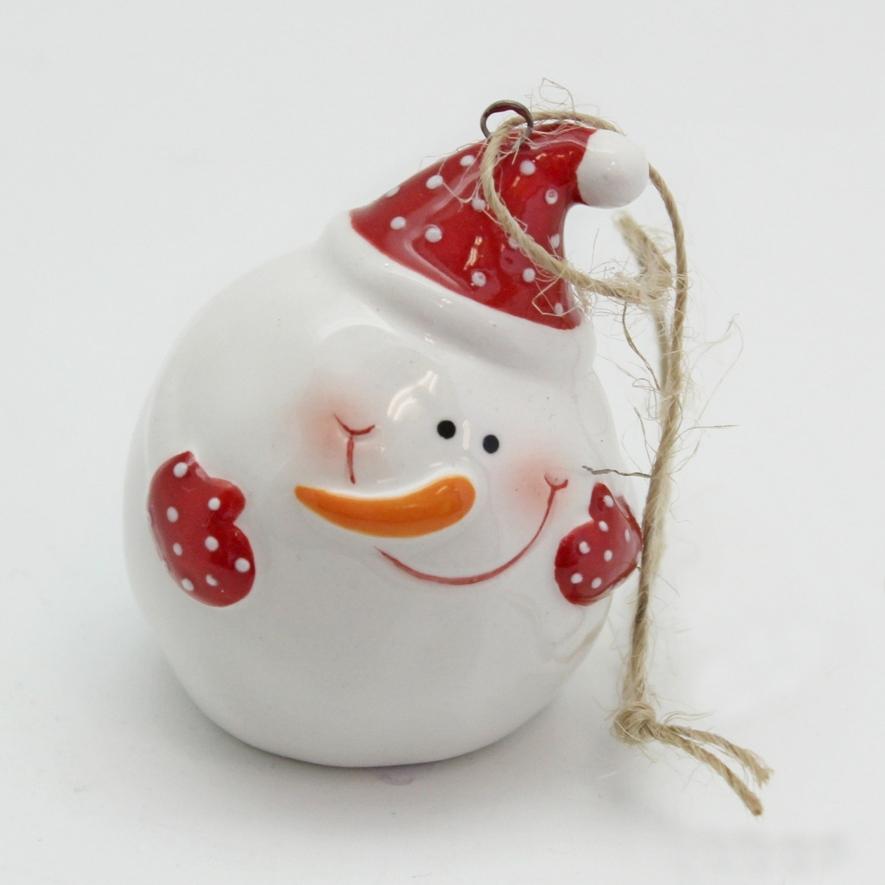 Sněhulák koule keramika bílý