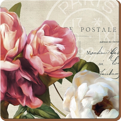 Creative Tops Korkové prostírání Postcard Floral Rozměry: 10x10cm - 4ks