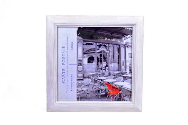 Obraz | kavárna s červeným křeslem