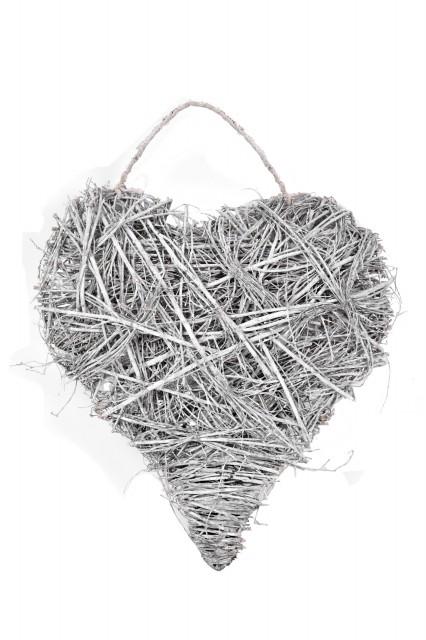 Proutěné srdce | bílé | na pověšení