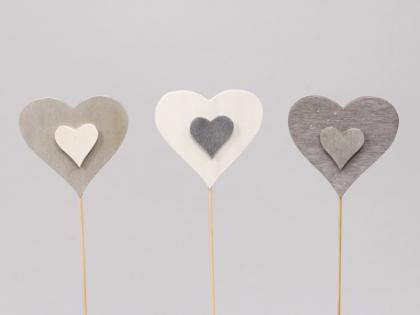 Srdce zápich 8cm Barva: bílá