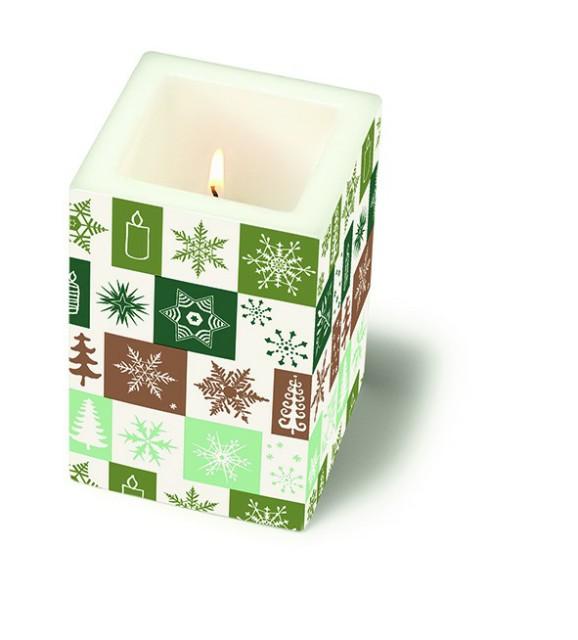Colourful life Svíčka | vánoční vzor | zelený Velikost: větší