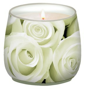 Colourful life Svíčka   ve skle   bílá růže