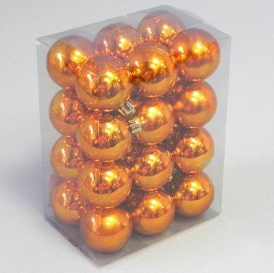 Koule vánoční plast oranžové 24ks