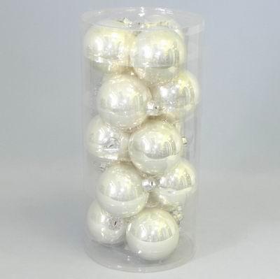 Koule vánoční bílá perleť 15ks