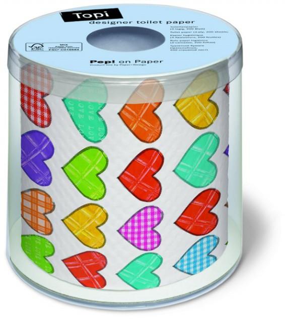 Colourful life Veselý toaletní papír | barevná srdce