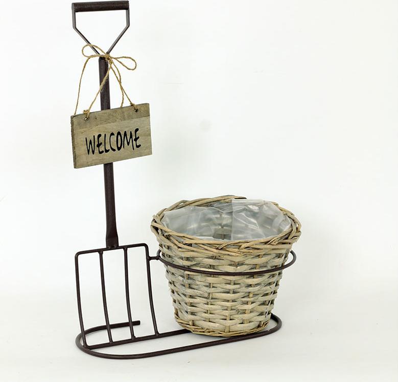 Artium Proutěný košík | kovový stojan | Welcome