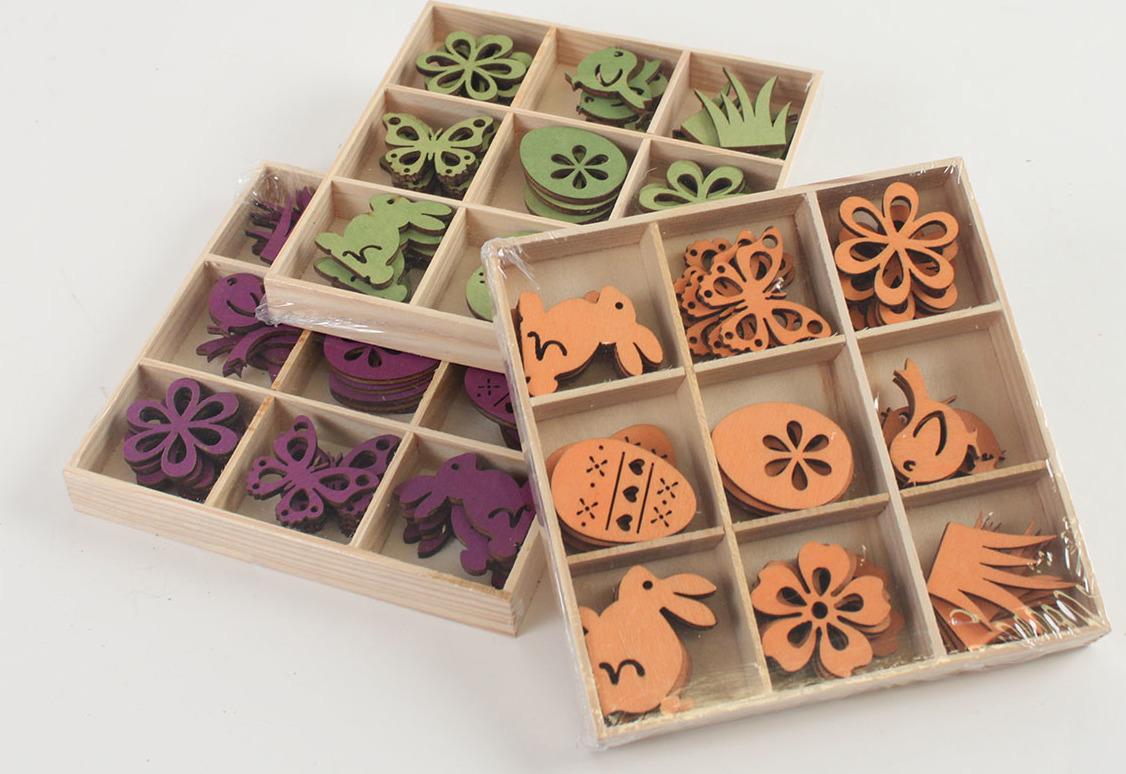 Jarní dekorace v krabičce | dřevo| 3 barvy Barva: oranžová