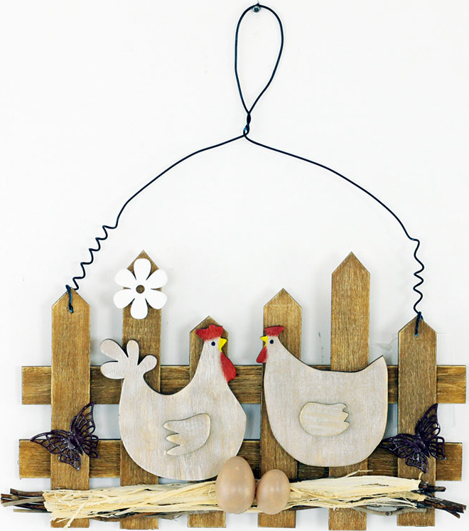 Dřevěná dekorace na zavěšení | slepičky u plotu