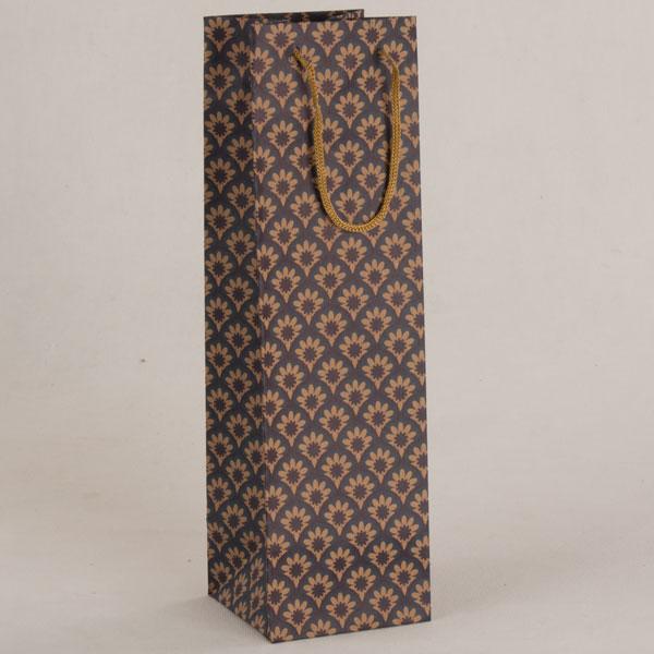 Papírová taška na víno   vzor květů