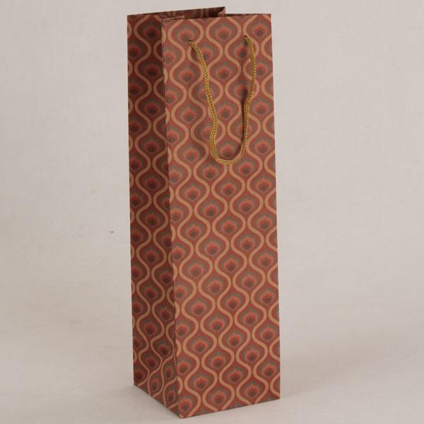 Papírová taška na víno   hnědooranžová