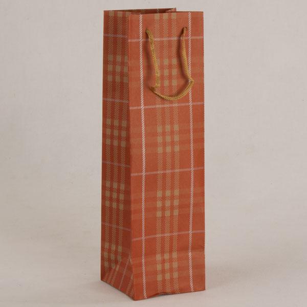 Papírová taška na víno   oranžové káro