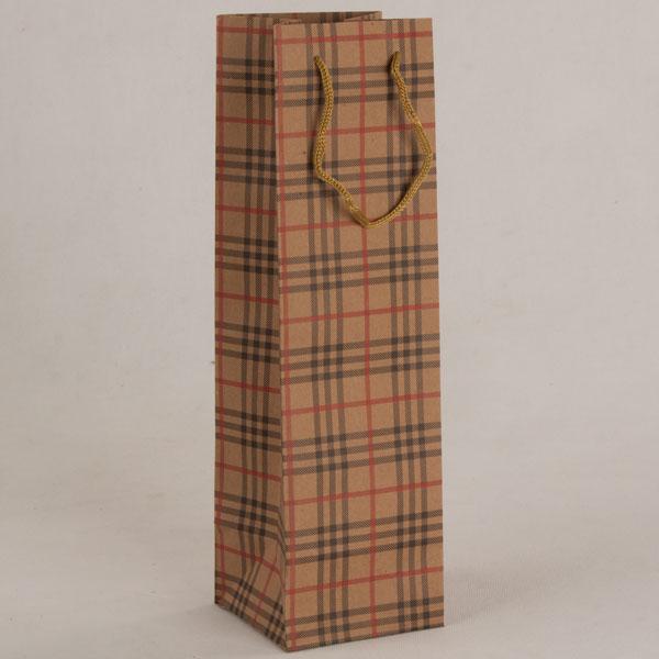 Papírová taška na víno   hnědé káro