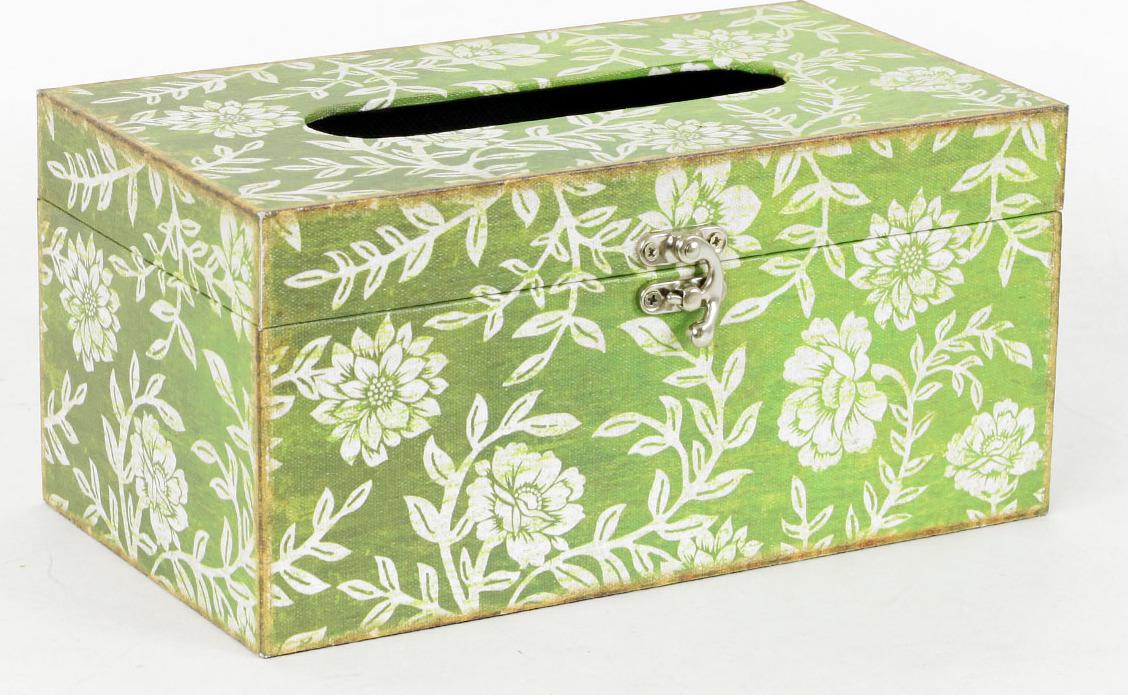 Autronic Krabička na papírové kapesníky | dřevěná | plátno s potiskem květin AUFK3007