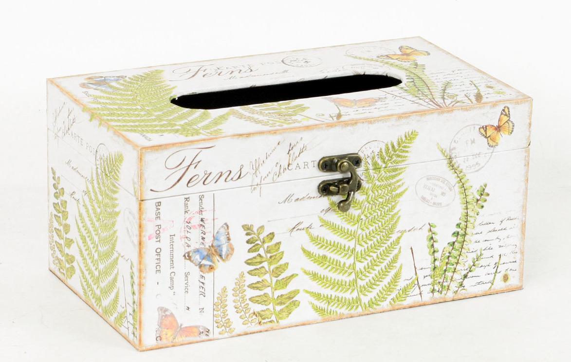 Autronic Krabička na papírové kapesníky | dřevěná | plátno s potiskem kapradí AUFK3008