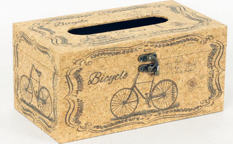 Autronic Krabička na papírové kapesníky | dřevěná | přírodní korek | bicykl AUFK3009