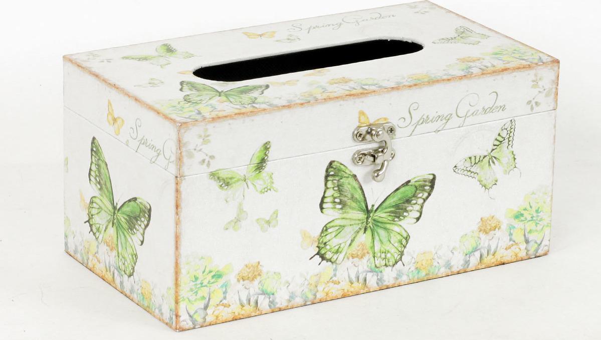 Autronic Krabička na papírové kapesníky | dřevěná | plátno s potiskem motýlů AUFK3010