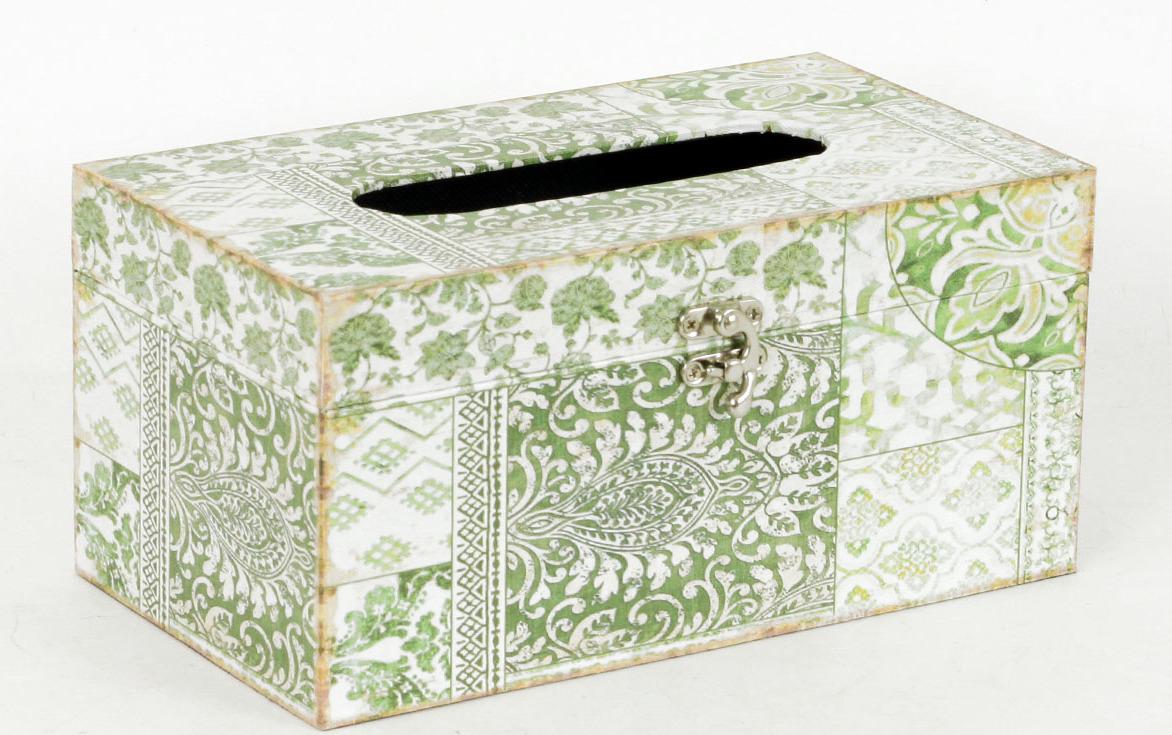 Autronic Krabička na papírové kapesníky | dřevěná | plátno s vzorovaným potiskem AUFK3011