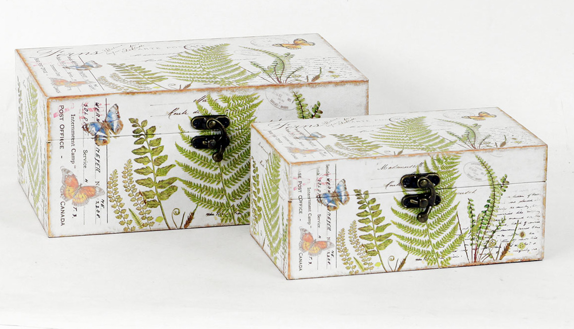 Artium Truhla dřevěná | plátno s potiskem kapradí | set 2 kusy