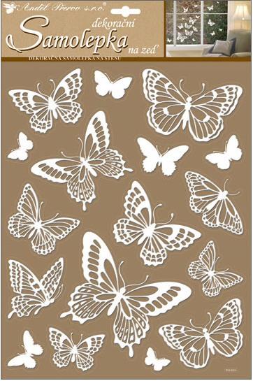 Samolepky na zeď | motýli | s glitry | bílí | 41x28cm