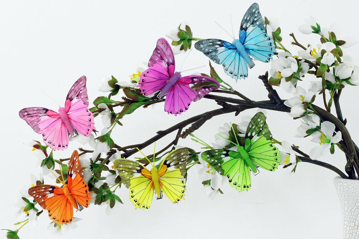 Artium Pestrobarevný motýl s klipem | 8cm| sada 12ks