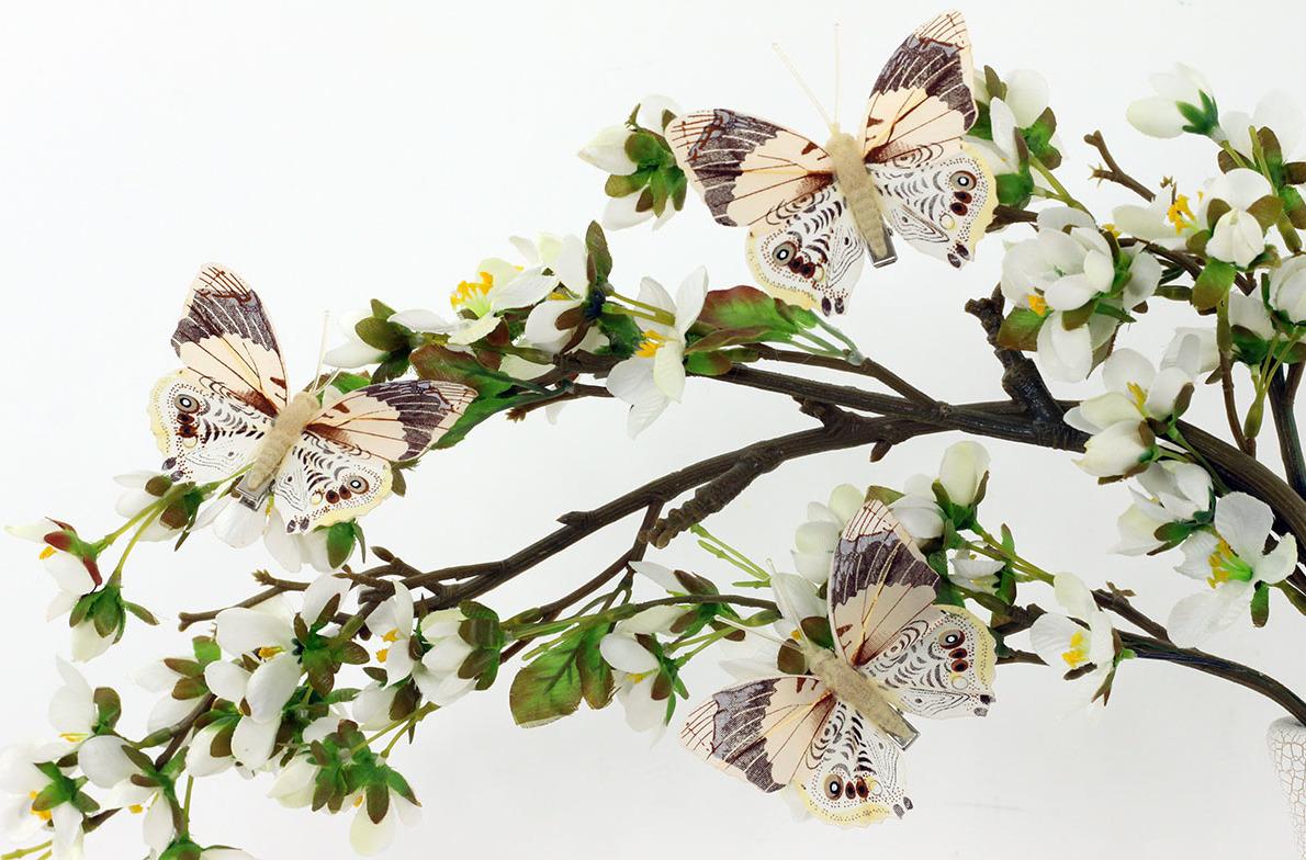 Artium Motýl s klipem | béžovo hnědý | sada 12ks