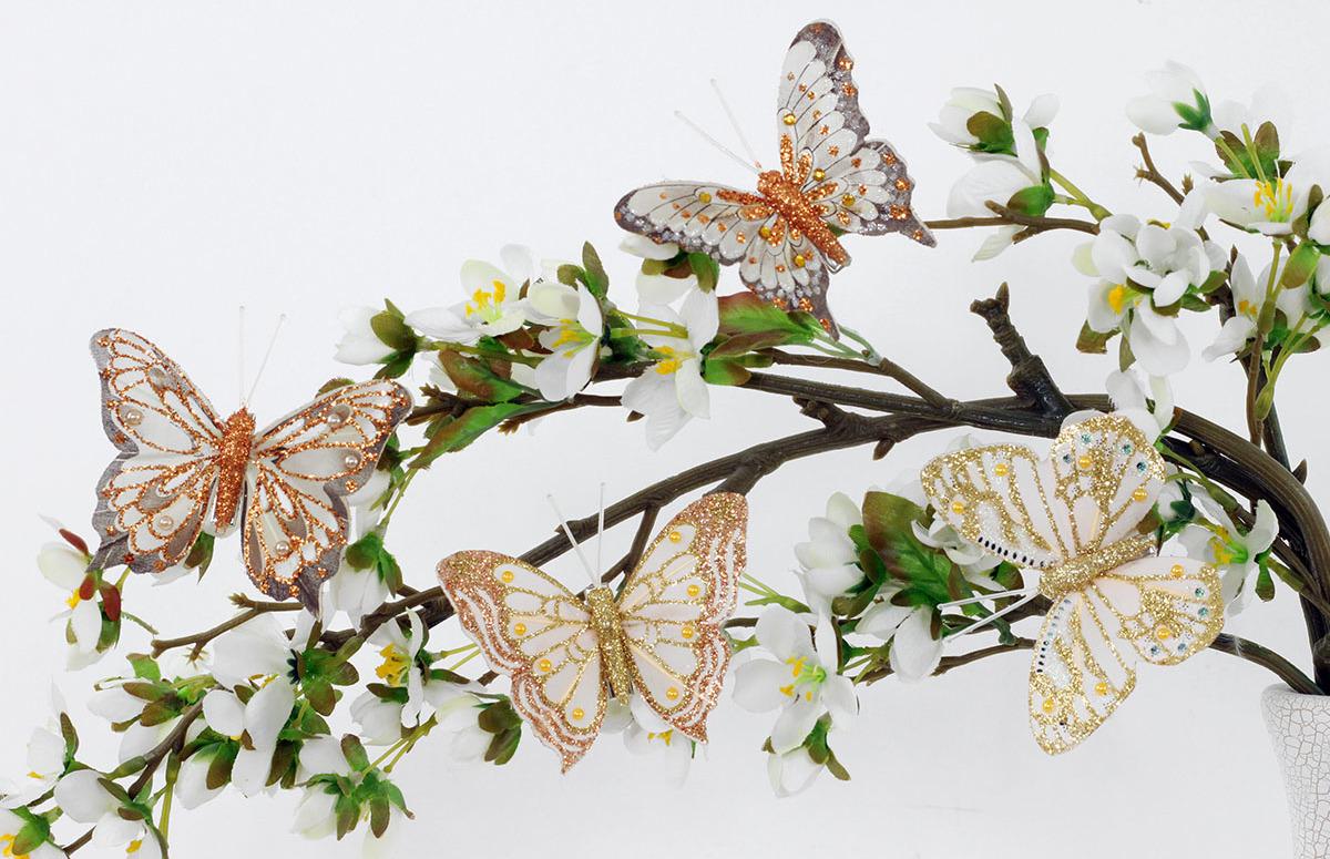 Artium Motýl s klipem | sada 8ks | třpytivý