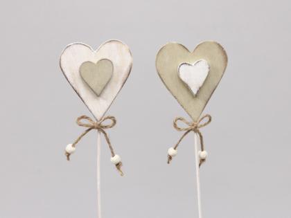 Zápich srdce 7cm Barva: bílá