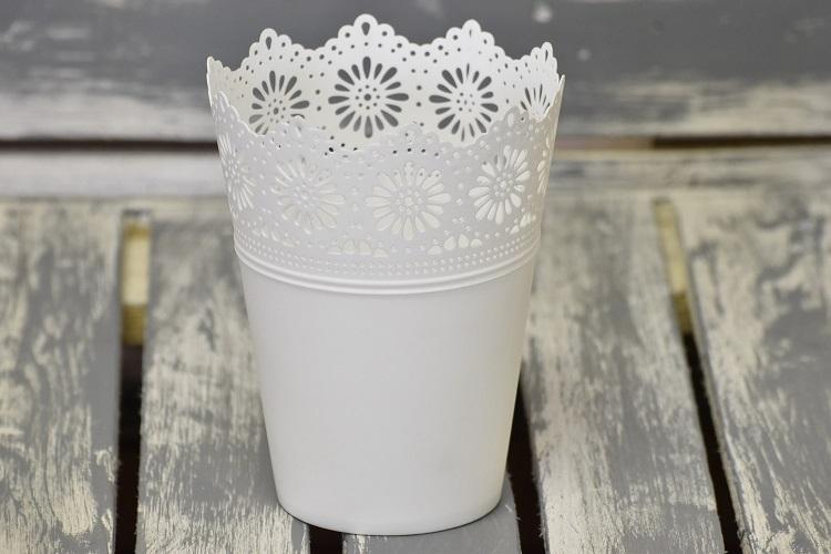 Plastový květináč krajka bílý velký