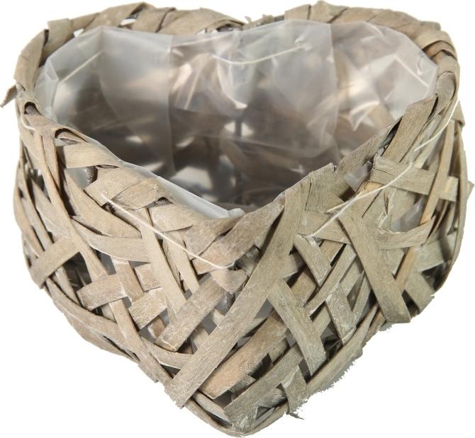 Harasim Proutěný košík srdce šedé S