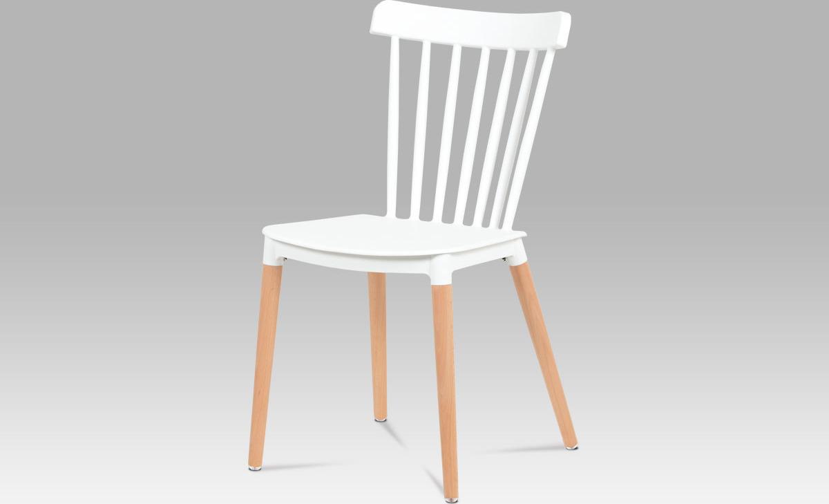 Artium Jídelní židle | plast | masiv buk Barva: bílá