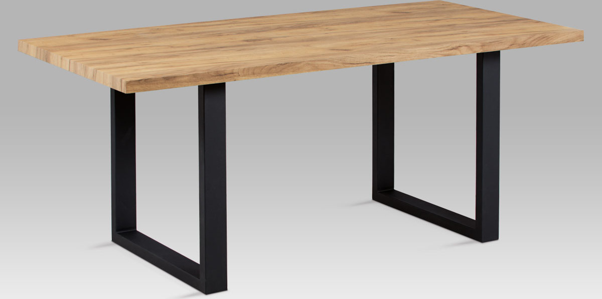 Artium Jídelní stůl | 180x90cm | 3D folie dekor dub | černý kov