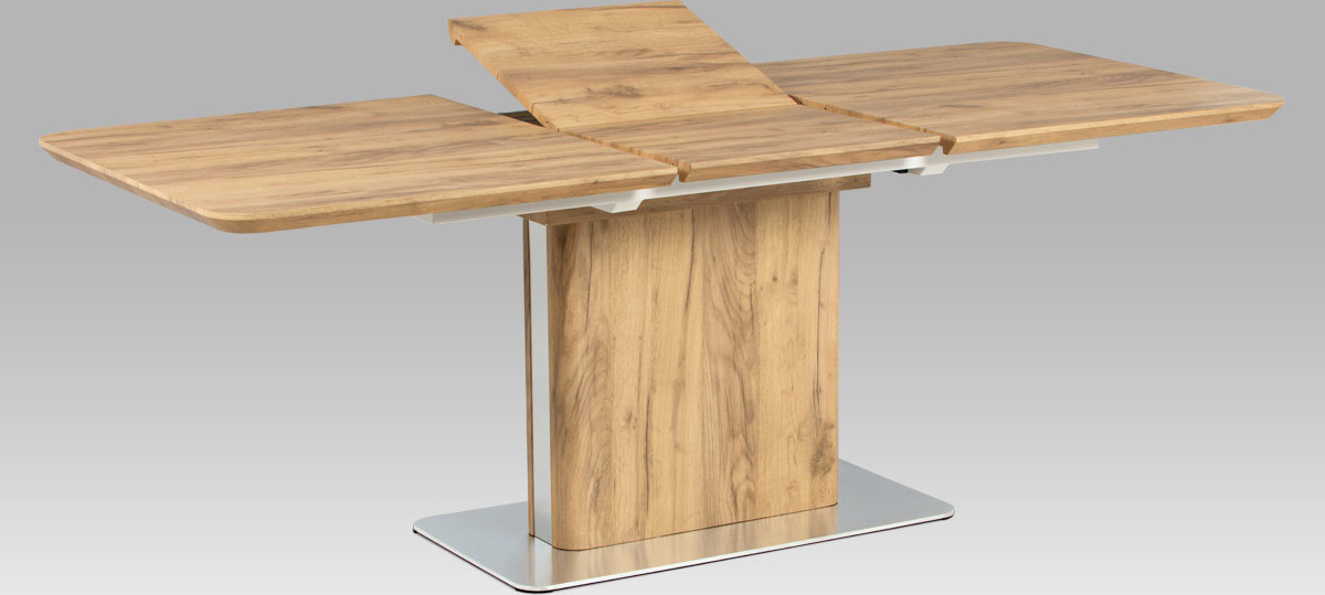 Artium Rozkládací jídelní stůl |160+50x90cm | 3D folie dekor dub | broušený nerez