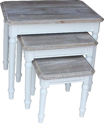 ID Květinový stolek | Provence | bílé | 3ks
