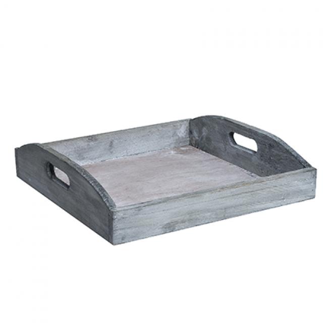 ID Dřevěný tác   dekorace   servírování   22x22x3cm Barva: šedá