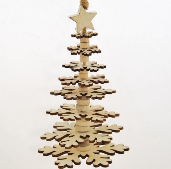 ID Vánoční stromeček | dřevěný | krémový Velikost: větší
