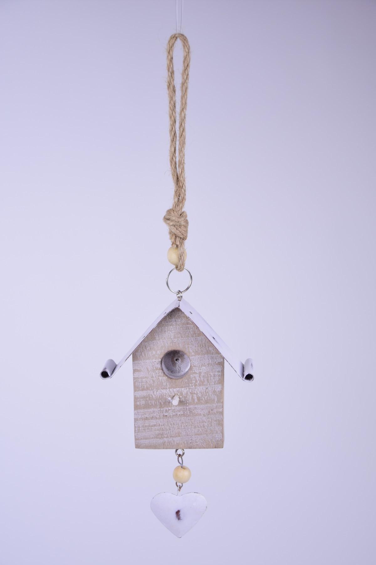 Závěsná dekorace ptačí budka 7x10x3,5cm