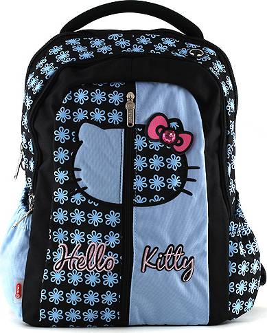 Školní batoh Hello Kitty   modrý   motiv květin