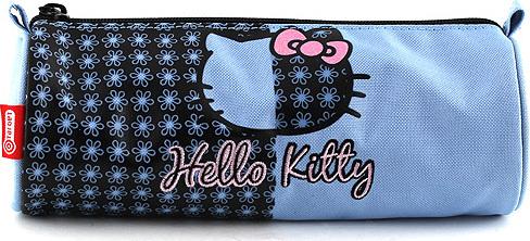 Školní penál Hello Kitty | modrý | motiv květin