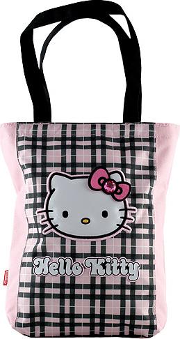 Textilní nákupní taška | Hello Kitty | růžovo-černá