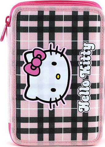 Školní penál s náplní | Hello Kitty | růžovo-černé kostky