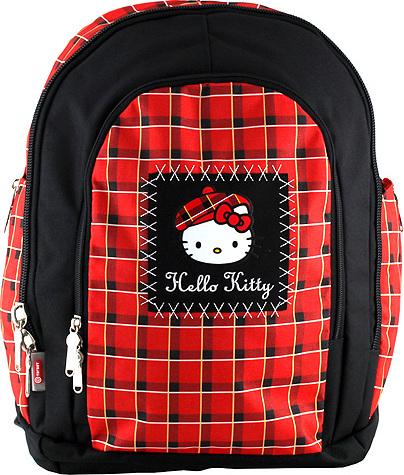 Školní batoh Hello Kitty   červeno-černý káro