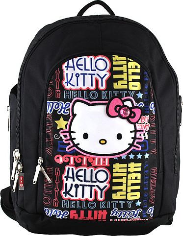 Školní batoh Hello Kitty | černý s nápisy