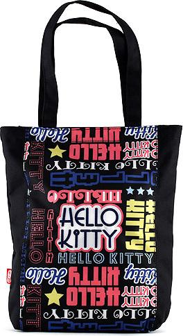 Nákupní taška Hello Kitty | černá s nápisy