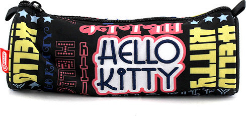 Školní penál Hello Kitty | černý s nápisy