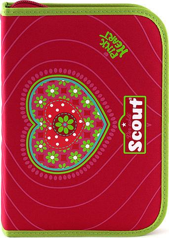 Školní penál s náplní Scout 22 dílný, jednopatrový, motiv srdce