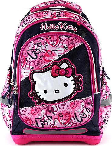 Školní batoh Hello Kitty motiv jeans, modro-růžový